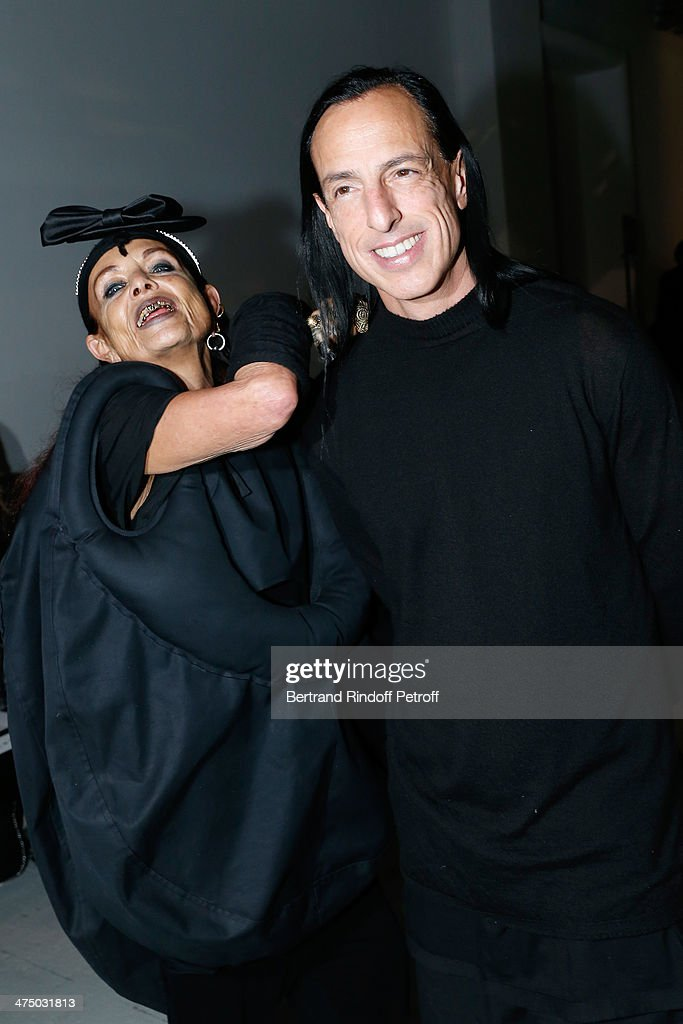 Fashion designer Rick Owens with his wife Michele Lamy attend the Gareth Pugh show as part of the Paris Fashion Week Womenswear Fall/Winter 2014-2015 on February 26, 2014 in Paris, France.