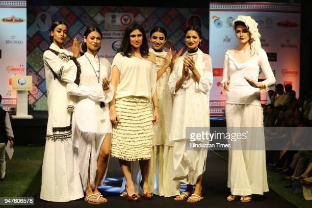 Fashion designer Rina Dhaka presents her designs during the Fashion Show to promote Ahimsa Silk and Khadi on April 1 2018 in New Delhi India