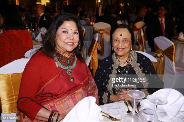 Fashion designer Ritu Kumar with Painter Anjolie Ela Menon during the fundraiser for Lepra India Trust at the residence of the British High...