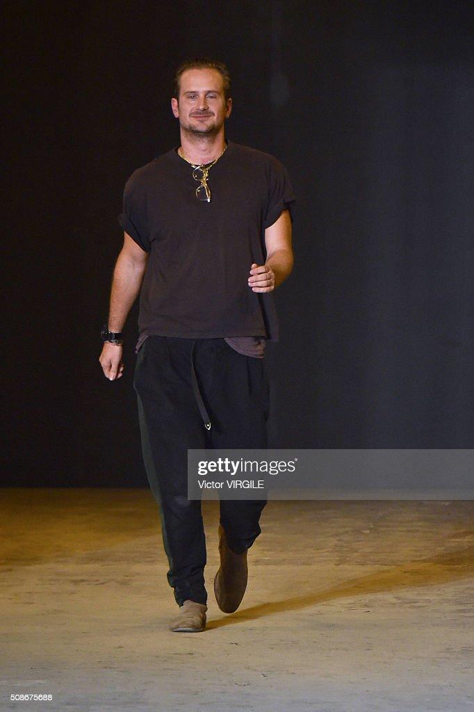 Fashion designer Robert Geller walks the runway at the Robert Geller show during New York Fashion Week Men's Fall/Winter 2016 on February 2, 2016 in New York City.