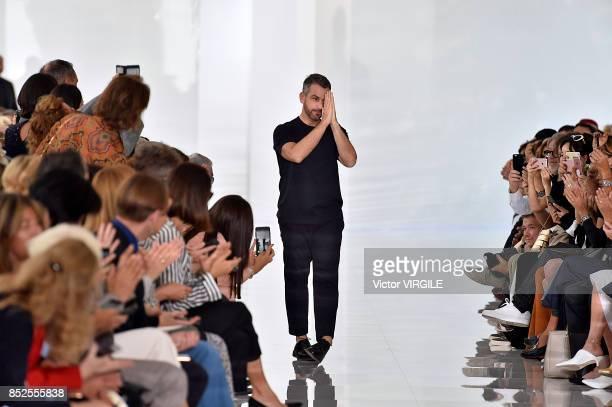 Fashion designer Roberto Cavalli walks the runway at the Roberto Cavalli Ready to Wear Spring/Summer 2018 fashion show during Milan Fashion Week...