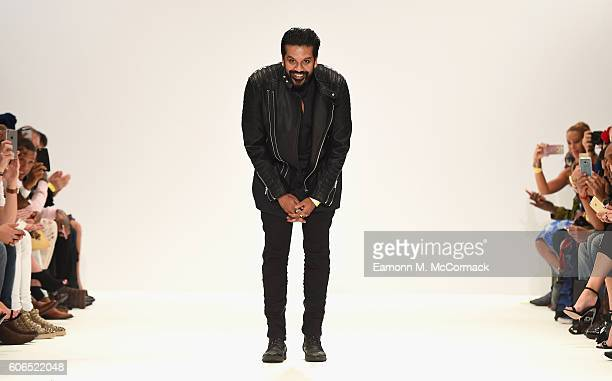 FAshion designer Rocky S on the runway after the Rocky Star show at Fashion Scout during London Fashion Week Spring/Summer collections 2017 on...