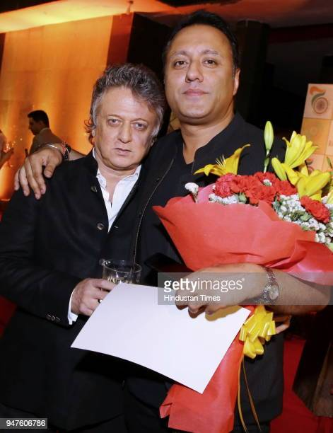 Fashion designer Rohit Bal and Varun Bahl during the Fashion Show to promote Ahimsa Silk and Khadi on April 1 2018 in New Delhi India
