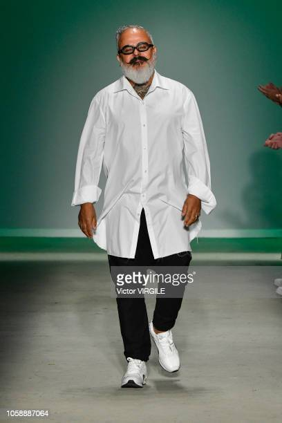 Fashion designer Ronaldo Fraga walks the runway during the Ronaldo Fraga fashion show during Sao Paulo Fashion Week N46 Fall/Winter 2019 on October...