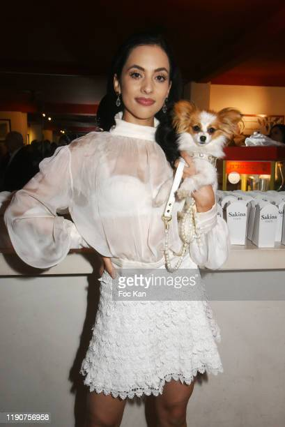 "Fashion designer Sakina Shbib attends the ""Portraits Croisés"" Photo Exhibition Preview by Paris Match at Cinema Mac Mahon on November 28, 2019 in..."