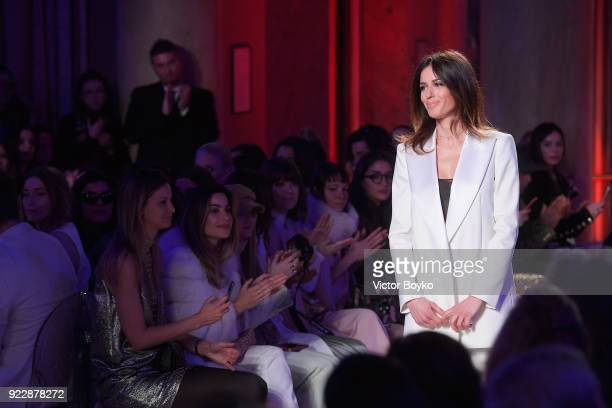 Fashion designer Sara Cavazza walks the runway at the Genny show during Milan Fashion Week Fall/Winter 2018/19 on February 22 2018 in Milan Italy