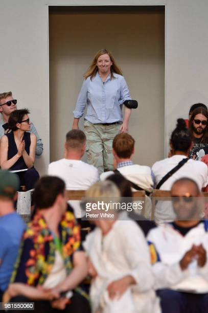 Fashion designer Sarah Burton acknowledges the audience on the runway during the Alexander McQueen Menswear Spring/Summer 2019 show as part of Paris...