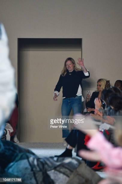 Fashion designer Sarah Burton walks the runway after the Alexander McQueen Paris show as part of the Paris Fashion Week Womenswear Spring/Summer 2019...