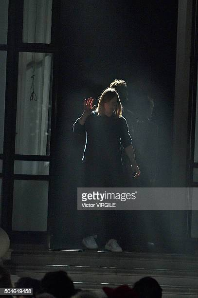 Fashion designer Sarah Burton walks the runway at the Alexander McQueen show during The London Collections Men AW16 at The Foreign and Commwealth...