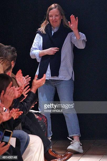 Fashion designer Sarah Burton walks the runway during the Alexander McQueen show as part of the Paris Fashion Week Womenswear Spring/Summer 2016 on...