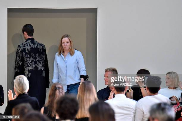 Fashion designer Sarah Burton walks the runway during the Alexander Mcqueen Menswear Spring/Summer 2018 show as part of Paris Fashion Week on June 25...