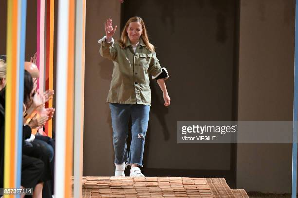 Fashion designer Sarah Burton walks the runway during the Alexander McQueen Ready to Wear Spring/Summer 2018 fashion show as part of the Paris...