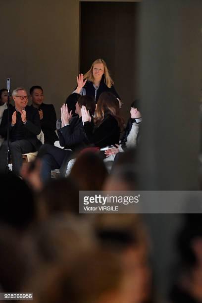 Fashion Designer Sarah Burton walks the runway during the Alexander McQueen Ready to Wear fashion show as part of Paris Fashion Week Womenswear...