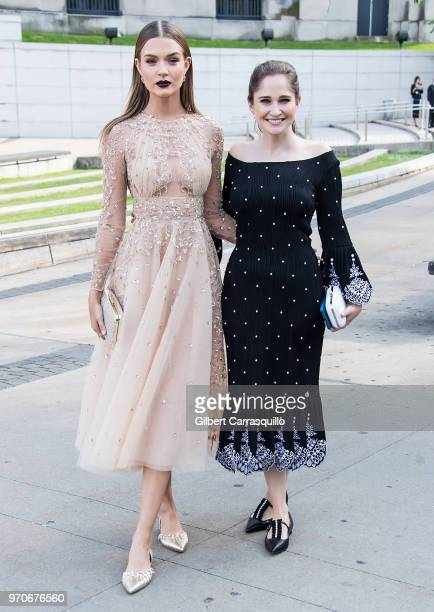Fashion designer Sarah Flint and model Josephine Skriver are seen arriving to the 2018 CFDA Fashion Awards at Brooklyn Museum on June 4, 2018 in New...