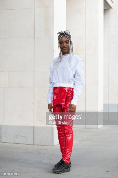 Fashion designer Shanice Palmer wears all her own design clothing during London Fashion Week Men's on June 10 2018 in London England