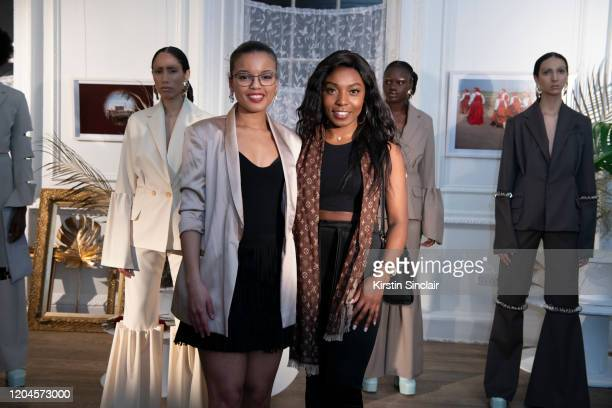 Fashion designer Shanna Bent and Actress Scherrikar Bell Maison Bent AW20 Presentation at Pushkin House on February 06 2020 in London England