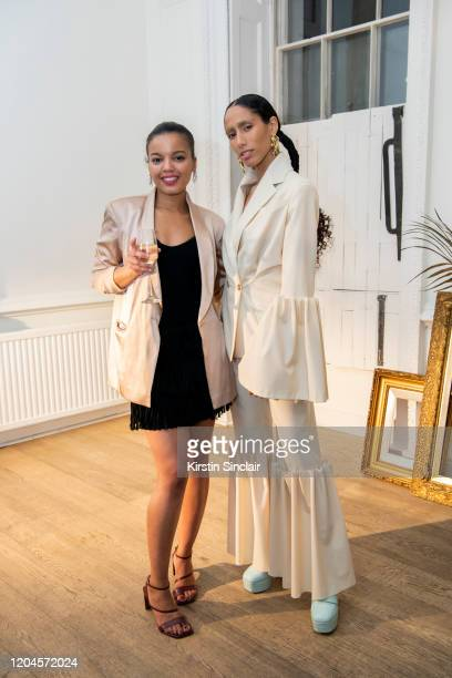 Fashion designer Shanna Bent and Singer Ciinderella Balthazar at the Maison Bent AW20 Presentation at Pushkin House on February 06 2020 in London...