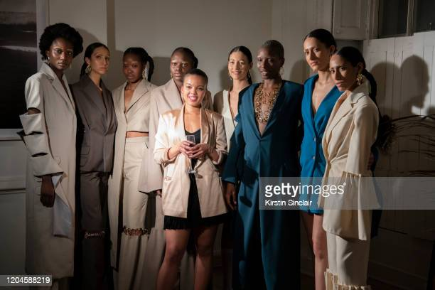 Fashion designer Shanna Bent Singer Ciinderella Baltahzar and the models at the Maison Bent AW20 Presentation at Pushkin House on February 06 2020 in...