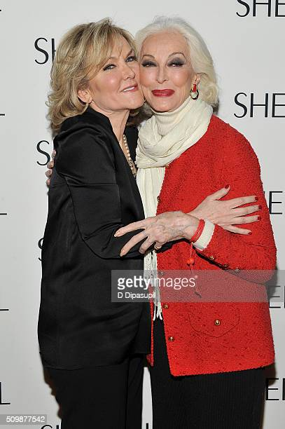Fashion designer Sherri Hill and model Carmen Dell'Orefice attend the Sherri Hill Fall 2016 fashion show during New York Fashion Week The Shows on...