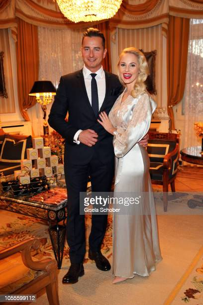 Fashion designer Silvia Schneider and her boyfriend Andreas Gabalier during the presentation of her collection 'Dressing Gown' and perfume at Hotel...