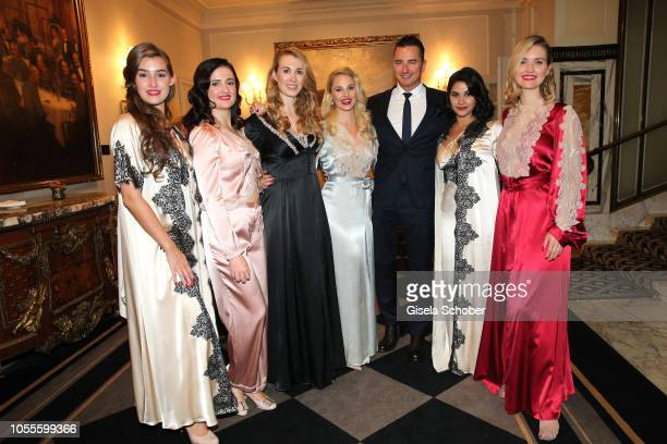 Fashion designer Silvia Schneider and her boyfriend Andreas Gabalier with models during the presentation of her collection 'Dressing Gown' and...