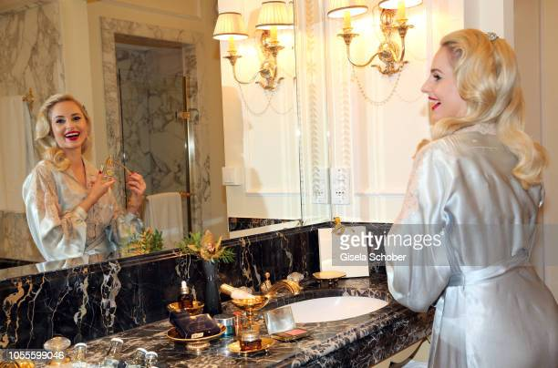 Fashion designer Silvia Schneider during the presentation of her collection 'Dressing Gown' and perfume at Hotel Bristol on October 30 2018 in Vienna...