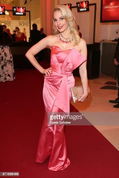 Fashion designer Silvia Schneider wearing her dress designed by her own during the ROMY award at Hofburg Vienna on April 22 2017 in Vienna Austria