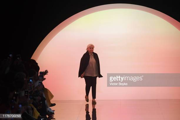 Fashion designer Silvia Venturini Fendi acknowledges the applause of the audience at the Fendi show during the Milan Fashion Week Spring/Summer 2020...
