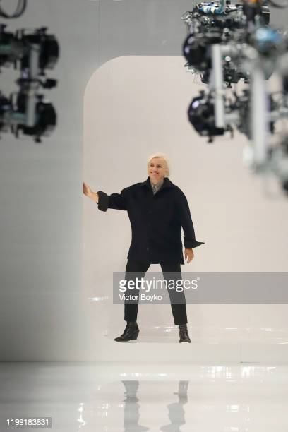 Fashion designer Silvia Venturini Fendi aknowledges the applause of the audience at the Fendi fashion show on January 13, 2020 in Milan, Italy.