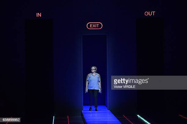 Fashion designer Silvia Venturini Fendi walks the runway at the Fendi show during Milan Men's Fashion Week Fall/Winter 2017/18 on January 16, 2017 in...