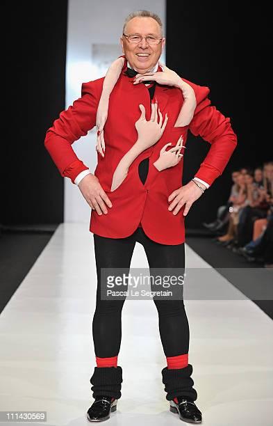 Fashion designer Slavia Zaitsev walks the catwalk after the Laboratoriya 13 show on Day 3 of the MercedesBenz Fashion Week Russia Fall/Winter...