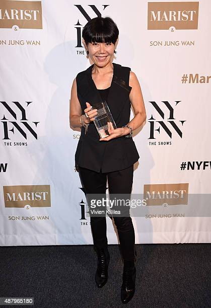 Fashion Designer Son Jung Wan holds her Silver Needle Award at Son Jung Wan Spring 2016 during New York Fashion Week The Shows at The Dock Skylight...