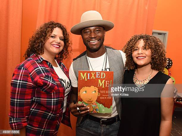 Fashion designer Sonia SmithKang actor Taye Diggs and Kristen Marston of Mixedology attend the Mixed Me Book Launch Multiculti Mixer on October 22...