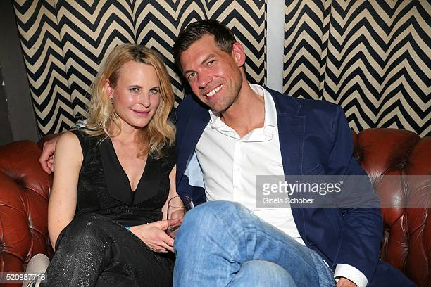 Fashion designer Sonja Kiefer and companion Cedric Schwarz during the Maxdome launch of the new entertainment world at Filmcasino on April 13 2016 in...