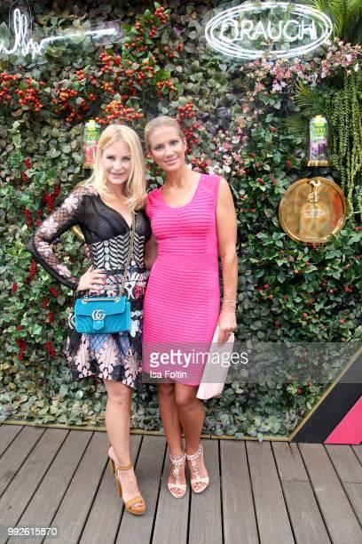 Fashion Designer Sonja Kiefer and German presenter Kerstin Linnartz attend The Fashion Hub during the Berlin Fashion Week Spring/Summer 2019 at...