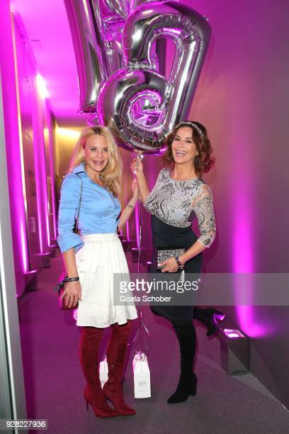 Fashion designer Sonja Kiefer and Gitta Saxx during the Business Women's Society launch event at Lovelace Hotel on March 6 2018 in Munich Germany