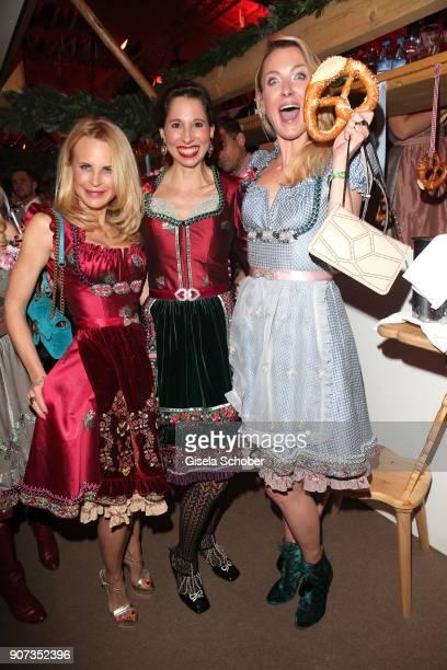 Fashion designer Sonja Kiefer Dirndl fashion designer Lola Paltinger and Lilly zu SaynWittgensteinBerleburg during the 27th Weisswurstparty at Hotel...