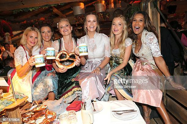 Fashion designer Sonja Kiefer Simone Ballack Barbara Sturm Monica Ivancan Charly Sturm and Marie Amiere during the opening of the oktoberfest 2016 at...