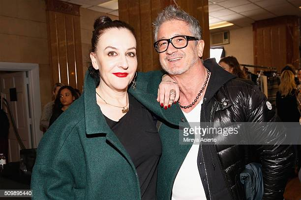 19d91455ce Fashion designer Sophie Theallet and Jean Michel Cazabat pose backstage at  the Sophie Theallet fashion show