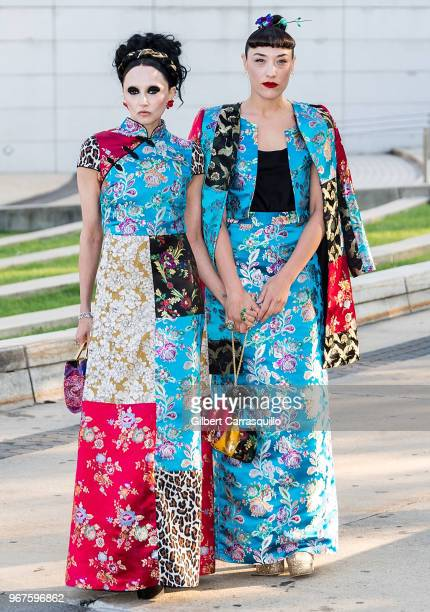 Fashion designer Stacey Bendet and actress Mia Moretti are seen arriving to the 2018 CFDA Fashion Awards at Brooklyn Museum on June 4 2018 in New...