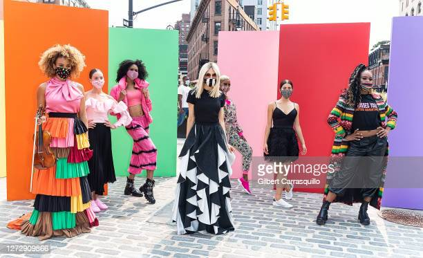 Fashion designer Stacey Bendet is seen during Alice + Olivia Come Dance With Us presentation, Spring Summer 2021, during New York Fashion Week on...