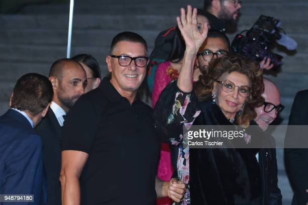 Fashion designer Stefano Gabbana actress Sofia Loren and fashion designer Domenico Dolce attend the Dolce Gabbana Alta Moda and Alta Sartoria...