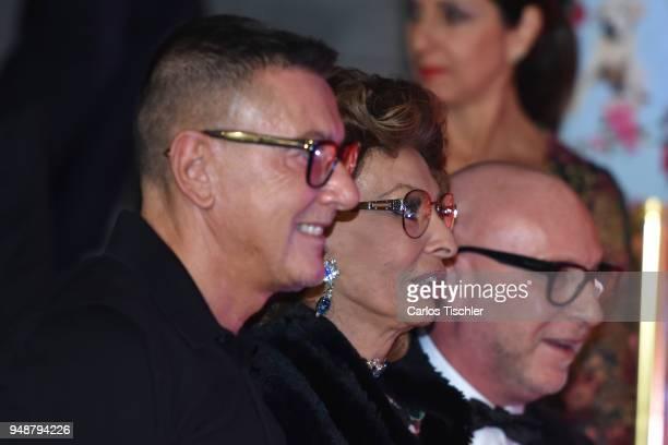 Fashion designer Stefano Gabbana actress Sofia Loren and fashion designer Domenico Dolce attend the Dolce Gabbana Alta Moda and Alta Sartoria...