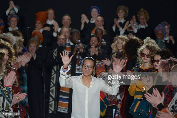 Fashion designer Stella Jean acknowledges the applause of the audience after the Stella Jean show during Milan Fashion Week Fall/Winter 2016/17 on...