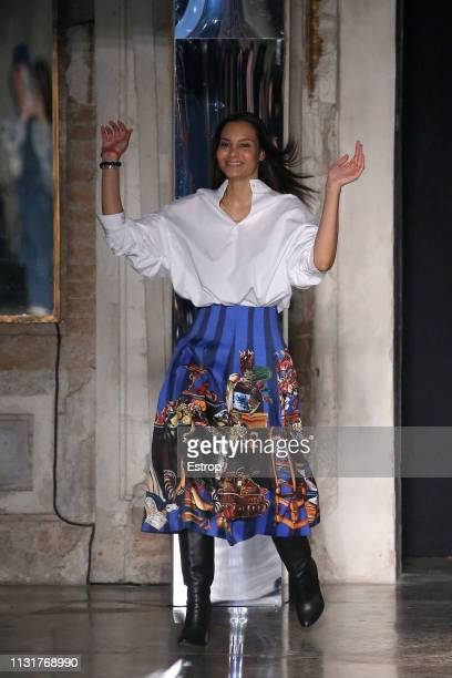 Fashion designer Stella Jean at the Stella Jean show at Milan Fashion Week Autumn/Winter 2019/20 on February 20, 2019 in Milan, Italy.