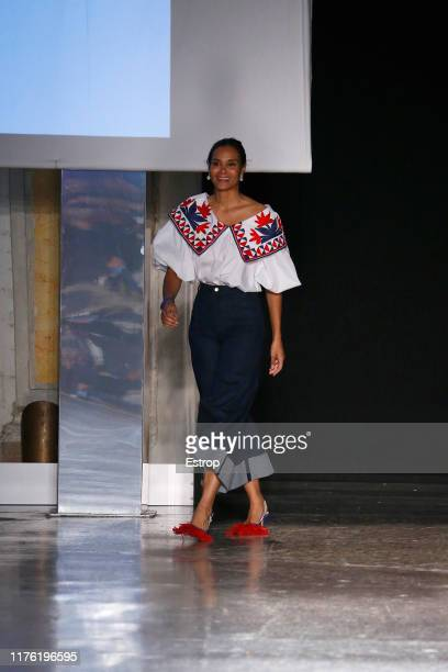 Fashion designer Stella Jean on the runway at the Stella Jean fashion show during Milan Fashion Week September 2019 at Italy on September 21, 2019 in...