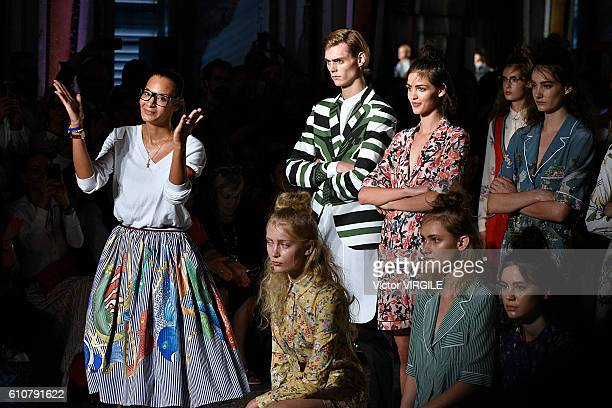 Fashion designer Stella Jean walks the runway at the Stella Jean Ready to Wear show during Milan Fashion Week Spring/Summer 2017 on September 25,...