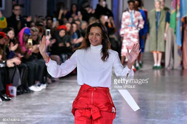 Fashion designer Stella Jean walks the runway at the Stella Jean Ready to Wear Fall/Winter 2018-2019 fashion show during Milan Fashion Week...