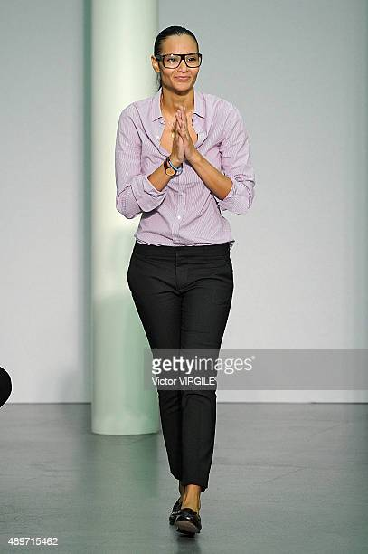 Fashion designer Stella Jean walks the runway during the Stella Jean Ready to Wear fashion show as part of Milan Fashion Week Spring/Summer 2016 on...