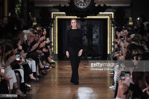 Fashion Designer Stella McCartney acknowledges the applause of the audience after her Womenswear Spring/Summer 2020 show as part of Paris Fashion...